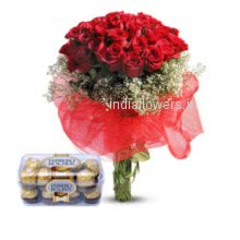 A beautiful gift for your girl friend Bunch of 40 Red Roses and Small Ferrero Rocher