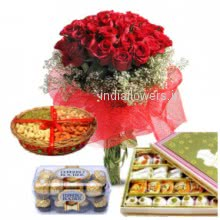 For a special occasion to make it more enjoyable a combo pack of Bunch of 30 Red Roses, Pack of  Half kg. Dryfruit, 16 pc Ferrero Rocher Chocolate and Half Kg. Mixed Mithai