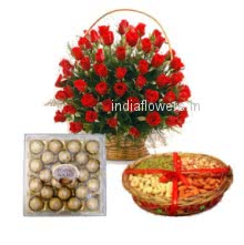 A beautiful gift combo of Basket of 30 Red Roses, Pack of Half kg. Dryfruit and 24 pc Ferrero Rocher to wish any festival or celebration make it special with this special gift combo.