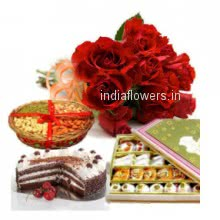 A beautiful gift to start new relations a Bunch of 12 Red Roses, Pack of Half kg. Dryfruit, Half Kg. Black Forest Cake and Half Kg. mixed Mithai