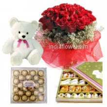 For your wife!! a Bunch of 30 Red Roses, 6 Inches cute Teddy, 24 pc Ferrero Rocher and Half Kg. Mixed yummy Mithai!!!!!!!!!!