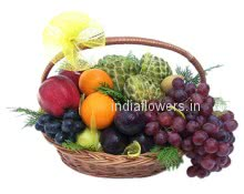 Wish that person get well soon, who is suffering from illness, A basket of mixed fruits.