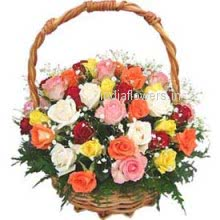 Beautiful Basket of 30 Mixed Roses a divine combination will fill its colors in your Loves heart.
