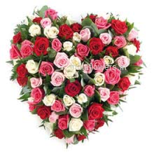 100 Mixed Red and Pink Roses in a Heart Shape for Valentines Day a gift from your heart to your love.