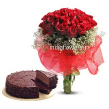 A most romantic gift to your love, Bunch of 30 Red Roses. Half kg Chocolate Truffle Cake.