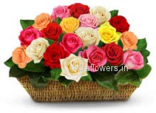 Basket of 40 Mixed Roses for Valentines Day as colorful as your love to your honey.