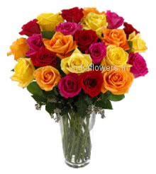 Valentine Special Product a colorful roses arranged beautifully in a Simple Glass Vase. 40 Mixed Colored Roses