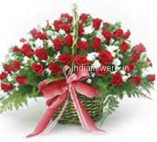 A Basket of Love! 100 Valentines Day Red Roses in a Basket for your Love