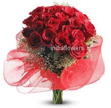 Bunch of 24 Valentines Day Red Roses will make your evening most romantic.