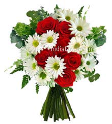 Bunch of Red Roses and White Gerberas an eye catching arrangement. 10 Red Roses and 15 White Gerberas