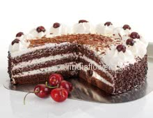 1 Kg. Egg Less  Black Forest Cake.  Please note: This item is not available in small cities / remote locations.