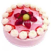 1 Kg. Egg Less Strawberry Cake.  Please note: This item is not available in small cities / remote locations.