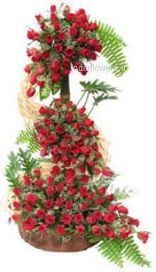 Tall Arrangement of 150 Red Roses