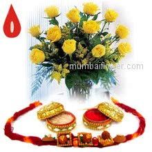Bunch of 12 Yellow Roses and 1pc Rakhi. Please note : Rakhi Design / Basket / Boxes /  Container may be replaced in case of unavailability.