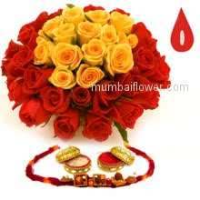 Bunch of 10 Red and 10 Yellow and 1 pc. Rakhi