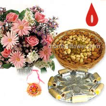 250 gm Pack of Kaju Katli and 250 gms Pack of mixed dry fruits and Bunch of 12 Mixed Colored Flowers with 1 pc. Rakhi