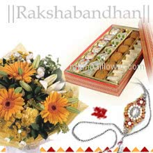 Bunch of 12 mixed Flowers and Pack of 500 gm. Mixed Mithai with 1 Free Rakhi