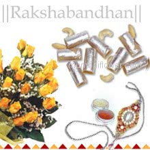 Bunch of 12 yellow Roses and 250 gm. kaju Roll with 1 pc. Rakhi