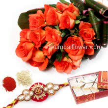 Bunch of 10 Pink Roses and 250 gm. Kaju Katli with 1 pc. Rakhi