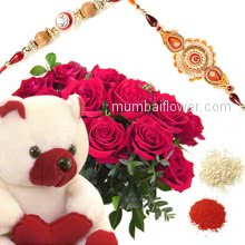 Bunch of 12 Red Roses and 6 Inch Teddy with 2 pc. Rakhi