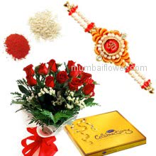 Bunch of 12 Red Roses and Small Cadbury Celebration pack with 1 Rakhis pc. Rakhi
