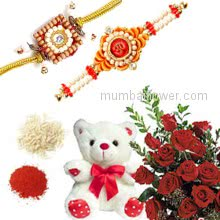 Rakhi Package with Teddy and Red Roses, Bunch of 12 Red roses, 6 Inch Height Teddy Bear with one Rakhis & Roli Chawal. Best Gift for Raksha Bandhan