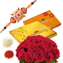 Rakhi Package with Roses N Chocolate Hamper, Bunch of 20 red roses, 2 Cadbury Celebration boxes ( 119.4 gms and 198.9 gms) with one Rakhis & Roli Chawal. Best Gift for Raksha Bandhan