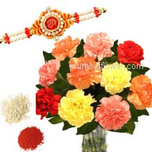Bunch of 10 Mix Color Carnations with 1 pc. Rakhi