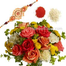 Rakhi Package with Bunch of 10 mix color roses, 6 white carnation with one Rakhis & Roli Chawal. Best Gift for Raksha Bandhan