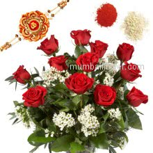 Rakhi Package with Bunch of 12 Red roses with one Rakhis & Roli Chawal. Best Gift for Raksha Bandhan