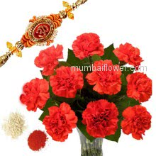 Rakhi Red Flowers Combo