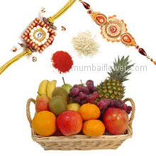 Rakhi Package with Basket arrangement of 4 kg Mix fresh fruits (like Pine Apple, Apples, Bananas, Grapes etc.) with two Rakhi & Roli Chawal. Best Gift for Raksha Bandhan