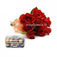 Bunch of 10 Red Roses and Ferrero Rocher 16 pcs nicely decorated with fillers and Ribbons