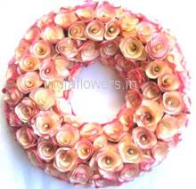Wreath of 50 Mixed White and Pink Flowers for Funeral , Sympathy