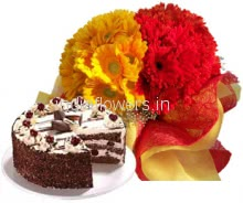 Bunch of 20 Red and Yellow Gerberas , Half kg. Black Forest Cake