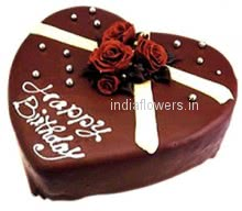 Heart Throbbing lovely and romantic 1 Kg. Heart Shape Chocolate Truffle Cake.