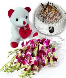 Bunch of 10 Purple Orchids and 6 inch teddy with Half kg. Vanilla Cake. Please note: this item is not available all the time.