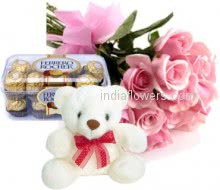 Bunch of 12 Pink Roses and 16pc Ferrero Rocher Chocolate and 6 inch Teddy
