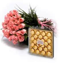 Bunch of 30 Pink Roses and 24pc Ferroro Rocher Chocolate