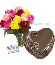 Bunch of 12 Mixed colored roses and 1 kg.Heart shape chocolate cake with simple greeting card