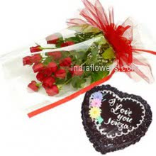 Bunch of 15 Red Roses nicely decorated with 1 kg. Heart shape Chocolate  cake