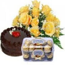 Bunch of 12 Yellow roses nicely decorated with half kg chocolate truffle cake and 16pc Ferroro Rocher Chocolate