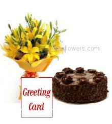 Bunch of 5 Yellow lilies nicely decorated with half kg.chocolate cake and simple greeting card