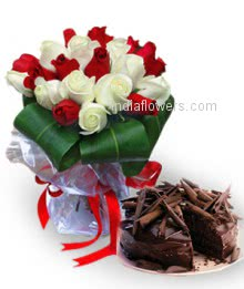 Bunch of 20 Red and White Roses nicely decorated with Half kg, chocolate truffle cake