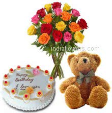Bunch of  15 mixed color roses with half kg, Vanilla cake and 12 inch teddy