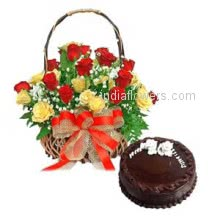 Basket of 20 Red and Yellow roses nicely decorated with Half kg. Eggless chocolate truffle cake