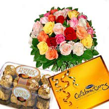 Bunch of 25 mixed colored roses nicely decorated with 16pc Ferrero Rocher Chocolate and small cadbury celebration