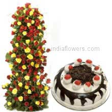 Tall arrangement of 100 Yellow and red roses nicely decorated with 1 kg.black forest cake