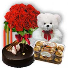 Bunch of 15 Red Roses, half kg. chocolate cake with 16pc Ferrero Rocher Chocolate and 6 inch teddy