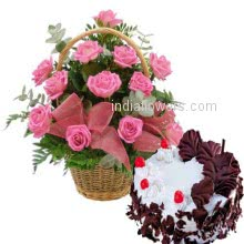 Basket of 20 Pink Roses nicely decorated with half kg. Black Forest Cake